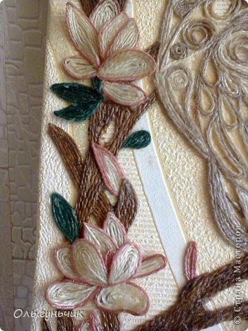 Картина панно рисунок Мастер-класс Моделирование конструирование Филигранный павлин МК Шпагат фото 44