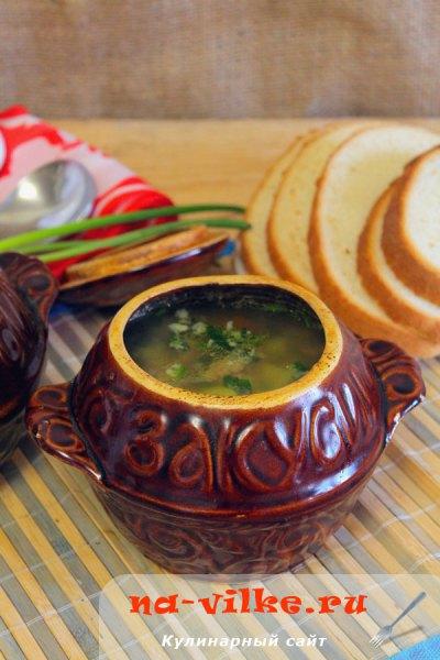 Суп с фрикадельками в горшочках
