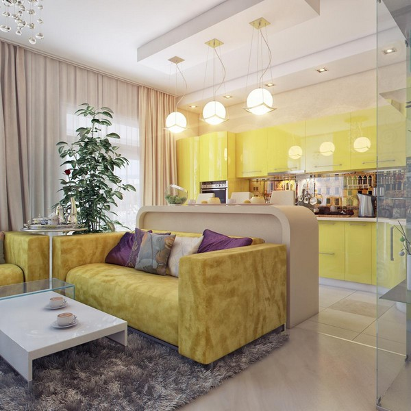 гостиная совмещенная с кухней фото