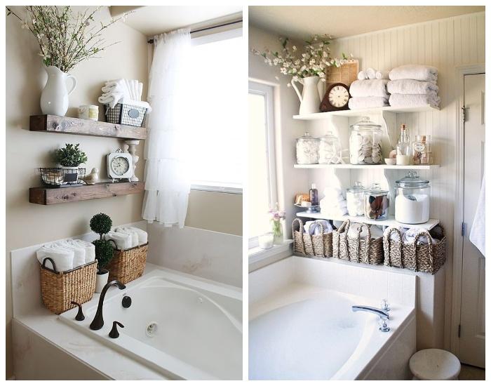 Для создания дополнительных систем хранения можно задействовать и стену возле ванны.