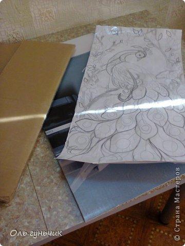 Картина панно рисунок Мастер-класс Моделирование конструирование Филигранный павлин МК Шпагат фото 3