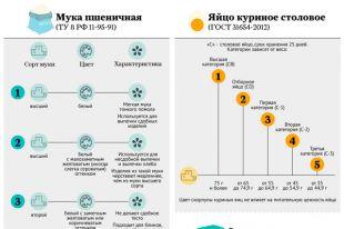 Сорта и категории популярных продуктов. Инфографика