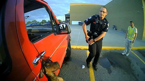 Полицейские спасли щенка висевшего на поводке за окном машины.