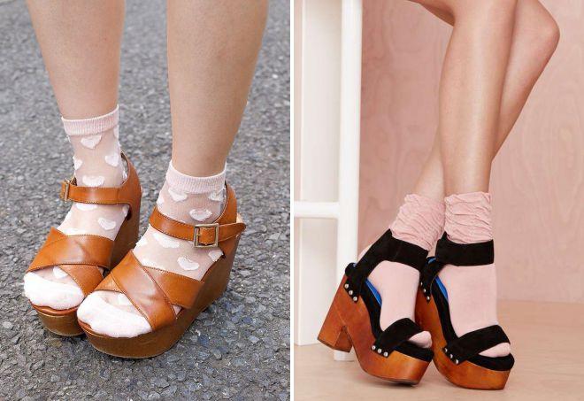 босоножки на платформе с носками