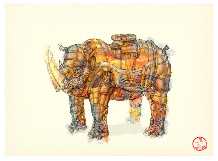 Механические животные: выразительные рисунки в стиле стимпанк, выполненные цветными ручками