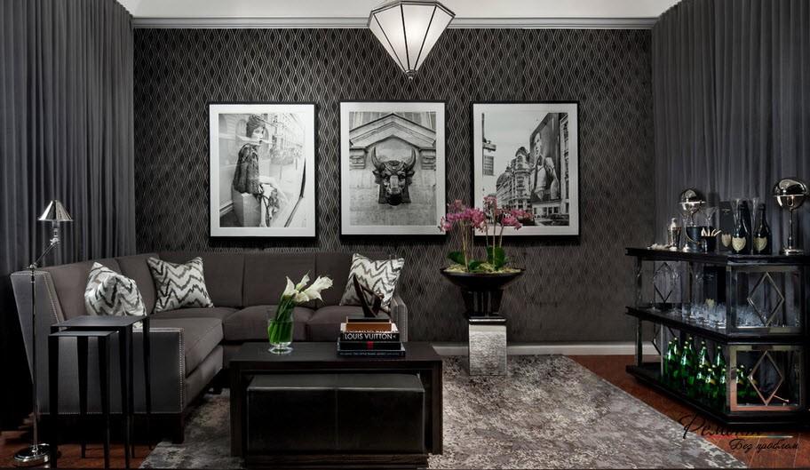 В интерьере гостиной особенно важно чувство мерыы с черным цветом