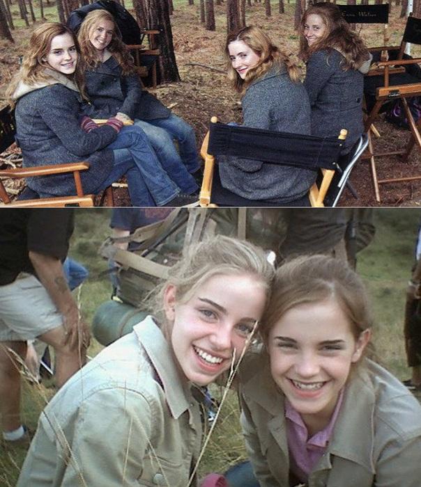Актриса Emma Watson в компании своих дублерш.