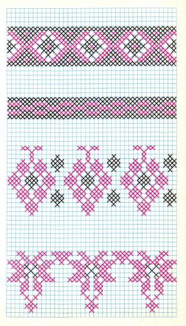 """Мотивы для вышивки крестом из книги Марты Манновой """"Вышивка"""""""