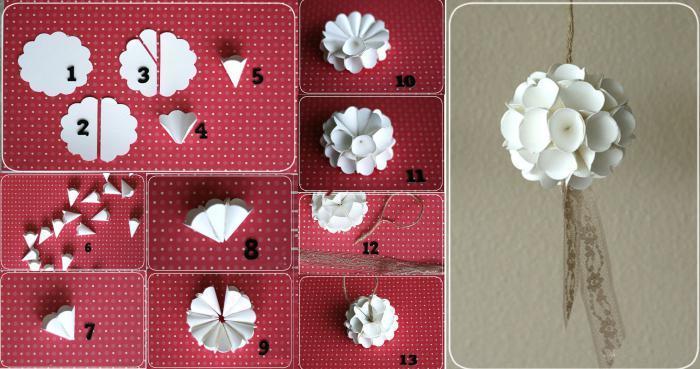 Как сделать новогодние объемные шары из бумаги своими руками 22