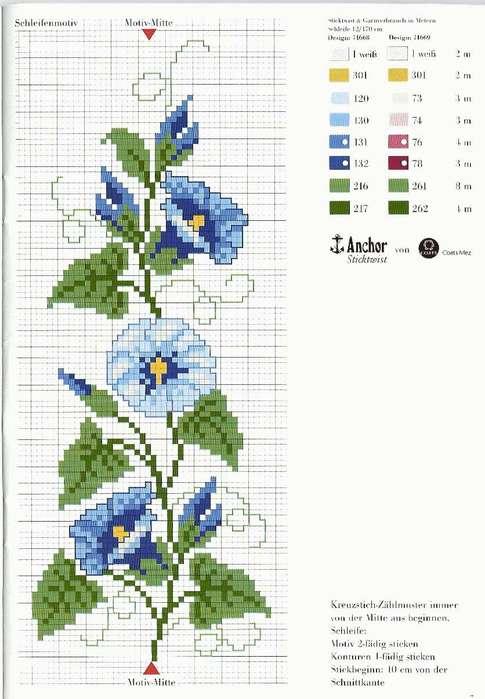 Вышивка синие цветы схема 96