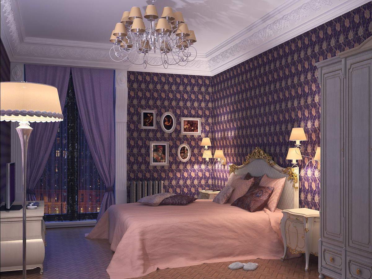 темный фиолет со светлым декором в интерьере спальни