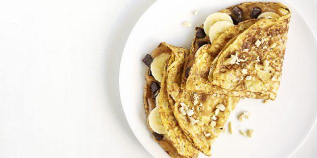 Начинки для блинов: с арахисовой пастой и бананом