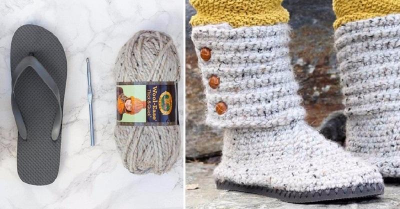 Подошва от вьетнамок и шерстяные нитки: вяжем удобную зимнюю обувь