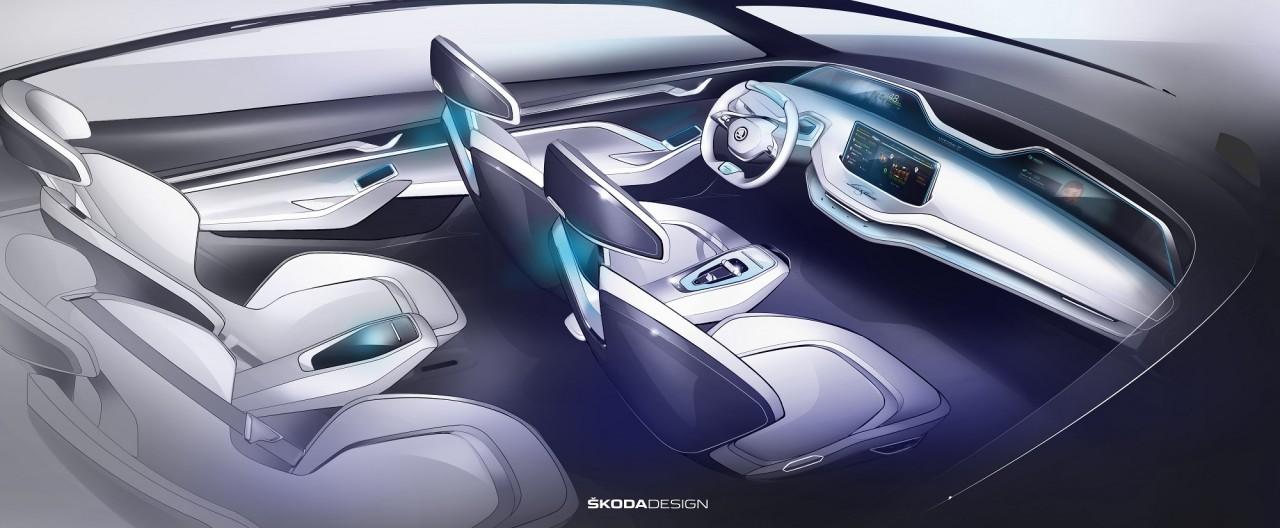 Skoda показала интерьер электрического кроссовера