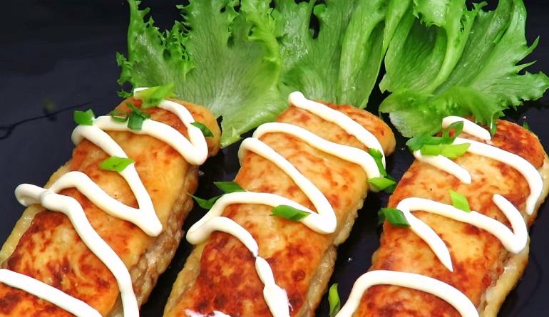 Картофельные полосочки-рулетики с сочным мясным фаршем