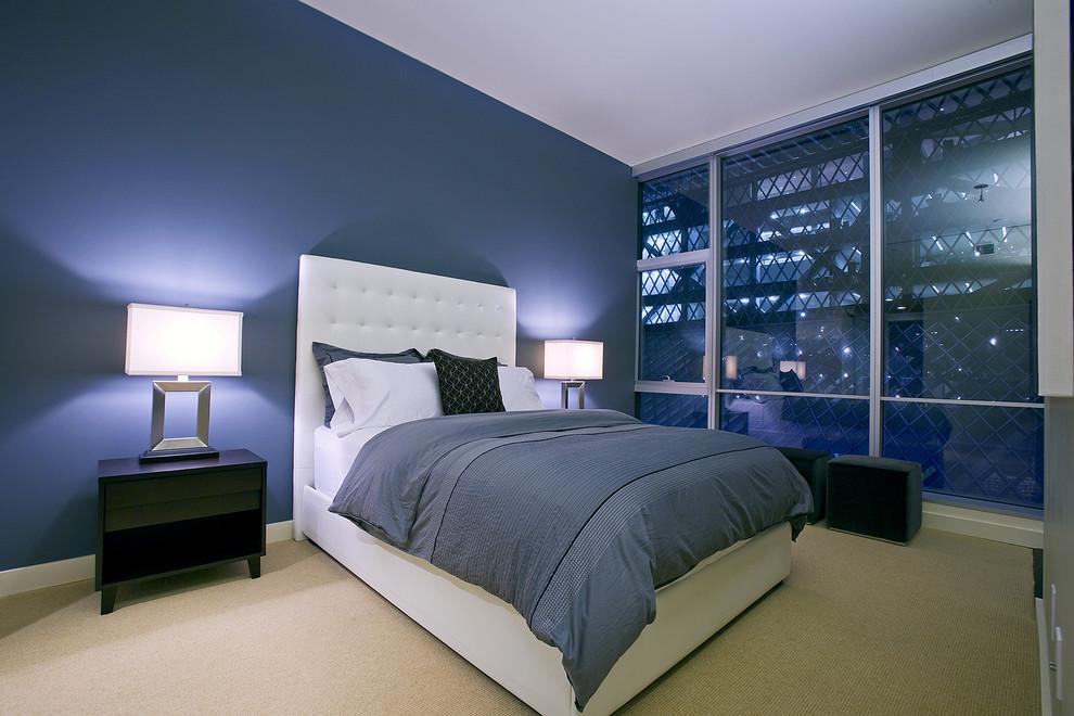 стильный дизайн двухцветной спальни