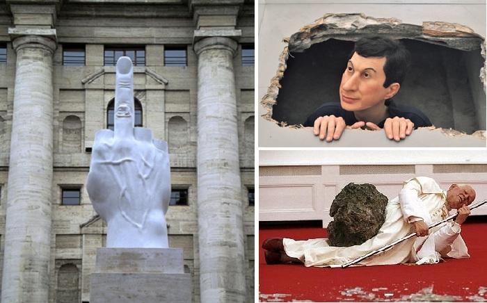 Скандальные скульптуры Маурицио Каттелана, за которые выкладывают миллионы