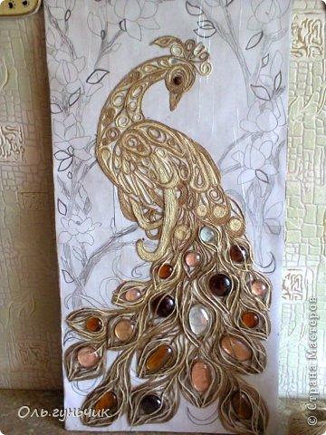 Картина панно рисунок Мастер-класс Моделирование конструирование Филигранный павлин МК Шпагат фото 14