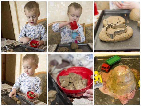 Супер - песок, держащий форму своими руками; поделки из соленного теста; цветная соль