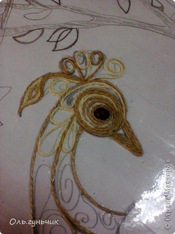 Картина панно рисунок Мастер-класс Моделирование конструирование Филигранный павлин МК Шпагат фото 6