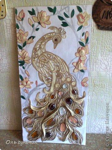 Картина панно рисунок Мастер-класс Моделирование конструирование Филигранный павлин МК Шпагат фото 30