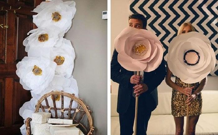 Большие цветы для свадебнойсессии своими руками