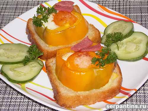 Вкусный завтрак - яйцо, запеченное в перце