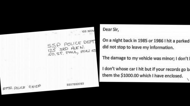 Когда совесть заела: американец прислал в полицию деньги за автомобиль, поцарапанный 30 лет назад