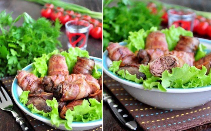 Прекрасная праздничная закуска — Румаки из маринованной куриной печени за 20 минут