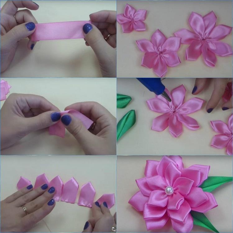 Как сделать цветок из атласной ленты своими руками пошаговое