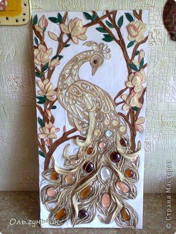 Картина панно рисунок Мастер-класс Моделирование конструирование Филигранный павлин МК Шпагат фото 37