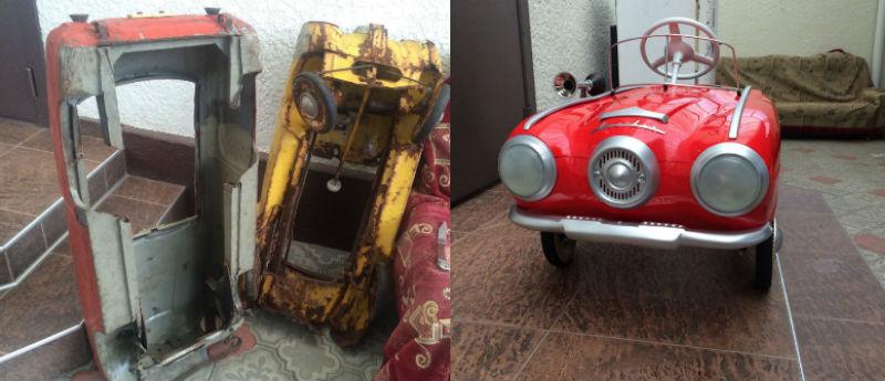 Москвич педальный: реставратор из Нальчика восстанавливает педальные детские машинки эпохи СССР