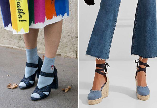 джинсовые босоножки с носками