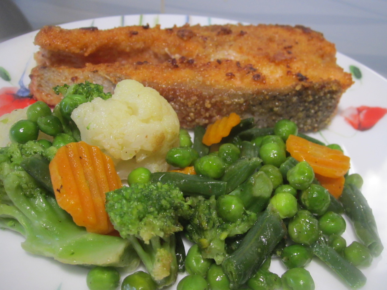 Красная рыбка с овощами
