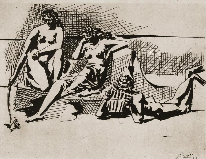 Пабло Пикассо. Две купальщицы и Пан. 1923 год