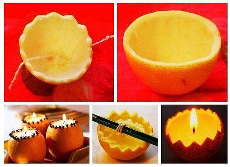 Как сделать свечи в апельсине