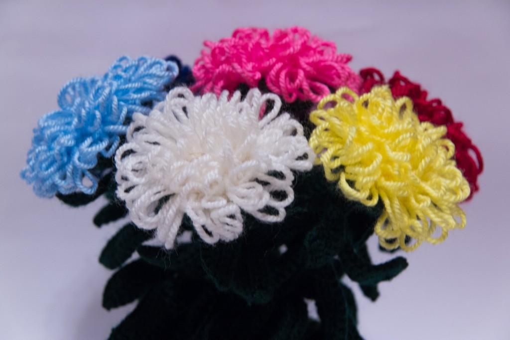 Вязание крючком цветы из пряжи 442