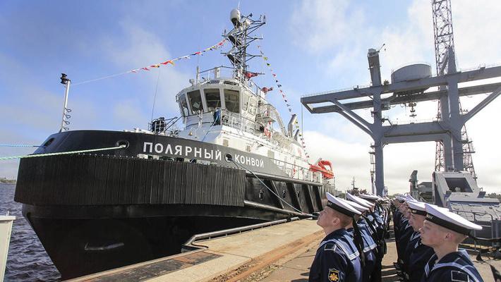 В состав Беломорской ВМБ Северного флота вошел новый спасательный буксир «Полярный конвой»
