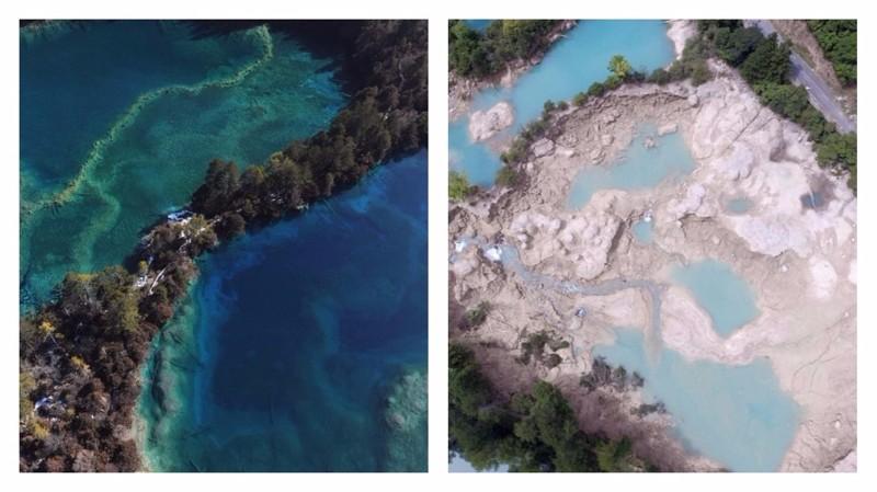 Землетрясение в Китае: снимки до и после