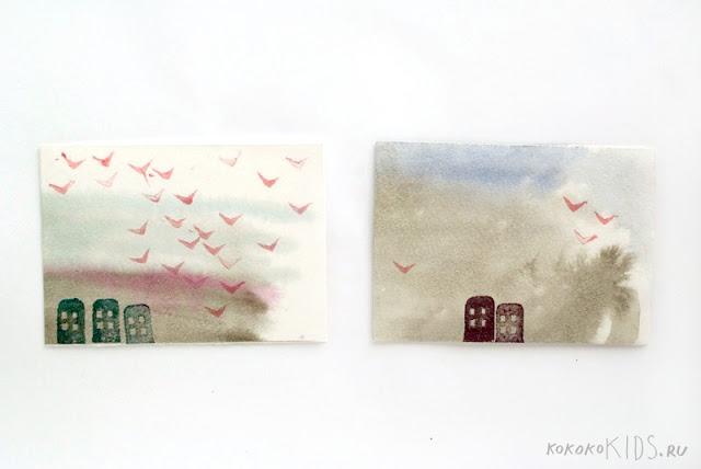 Как рисовать картину с птицами