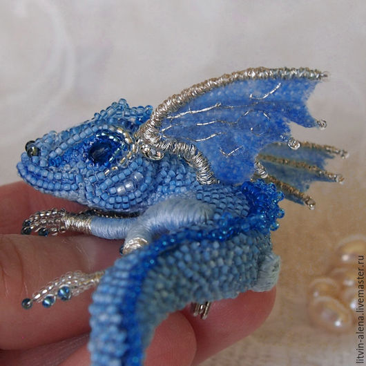 Brooches handmade. Brooch dragon 'Frost' Brooch beads. Embroidered dragon. master Alena Litvin. My Livemaster.Brooch beads