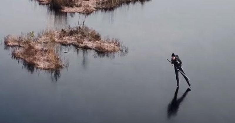 Фигурист вышел на очень тонкий лед. Когда он начал кататься, случилось нечто неожиданное и волшебное!
