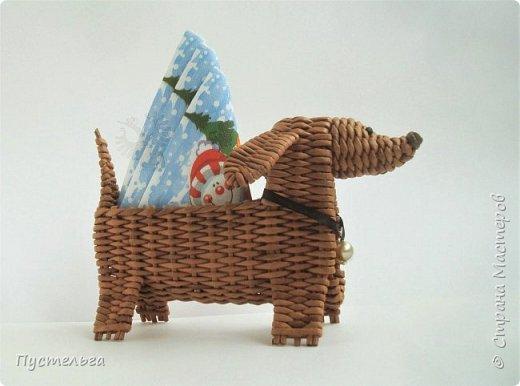 Буся - умненькая собачка, может послужить салфетницей на новогоднем столе