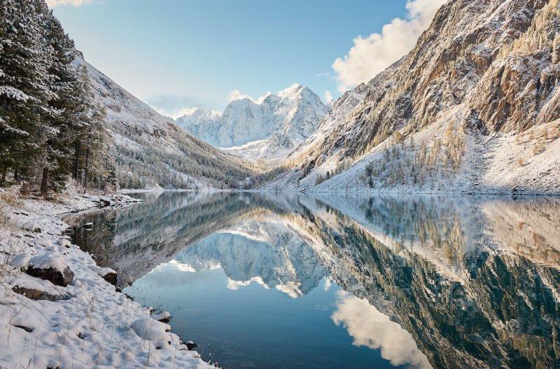 Зимнее горное озеро, Алтайские горы, хребет Чуя зима, красота, природа, россия, фото