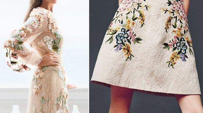 платья с вышивкой и цветами
