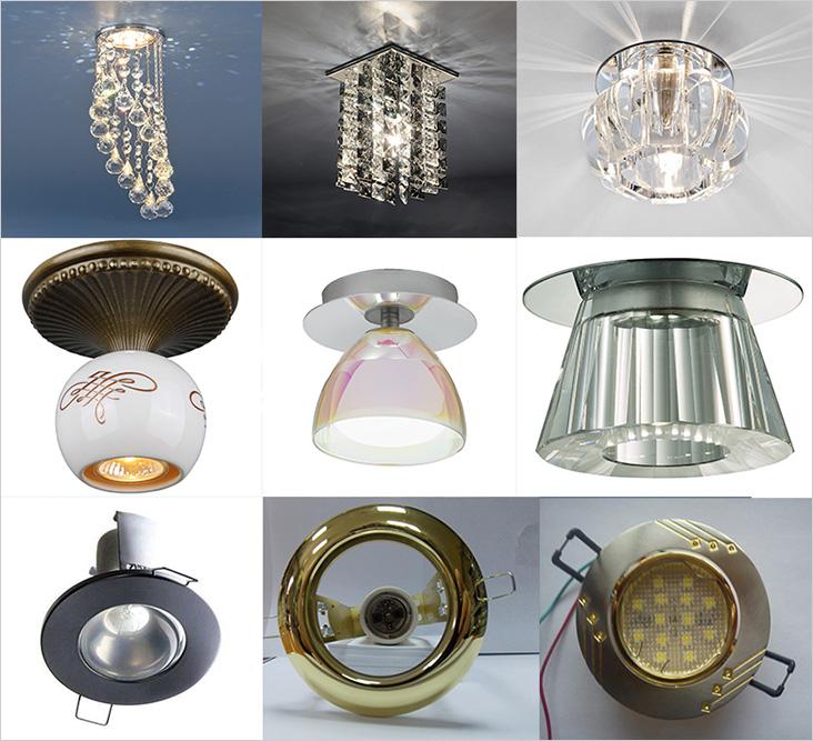 Разнообразные точечные светильники отличаются формой и способом монтажа