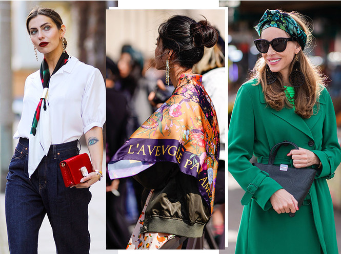 Как носить шелковые платки: 10 самых простых и стильных способов