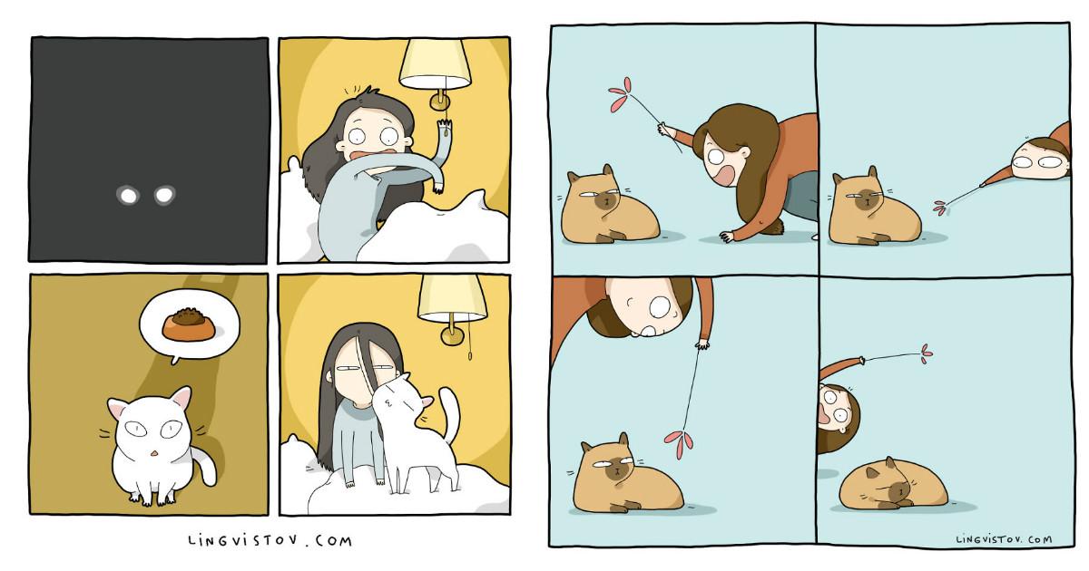 О нелегкой жизни с кошкой)