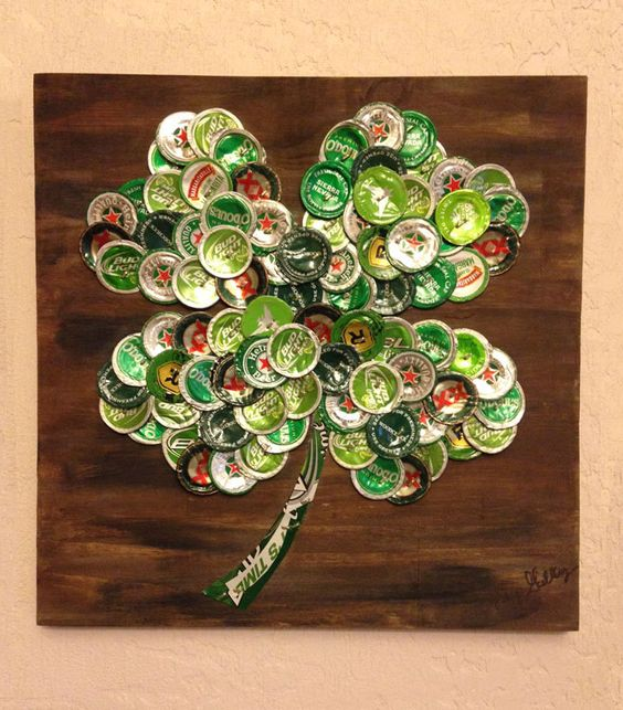 BeerBottle Cap Four-Leaf Clover 12 x 12 Painted Wood by KaysCapArt:
