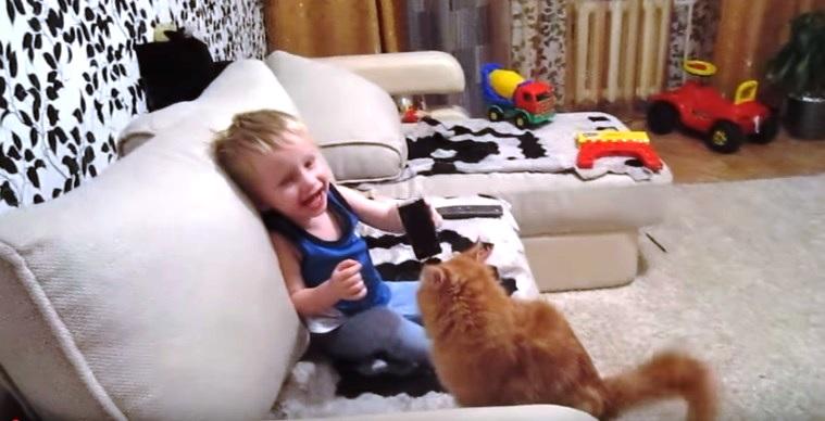 Кот придумал оригинальный метод повоспитывать малыша за вредность! Классный ролик!